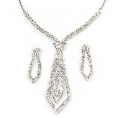 Statement Bridal Clear Crystal Open Tie Necklace & Earrings Set In Silver Tone Metal - 31cm L/ 12cm Ext