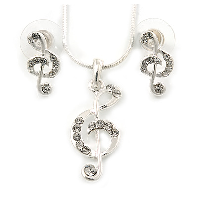 Clear Austrian Crystal Treble Clef Pendant With Silver Tone Chain and Stud Earrings Set - 46cm L/ 5cm Ext - Gift Boxed - main view