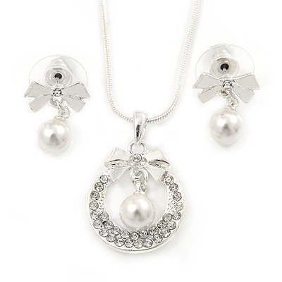 Clear Austrian Crystal Simulated Pearl Bow Pendant with Silver Tone Chain and Stud Earrings Set - 40cm L/ 6cm Ext - Gift Boxed