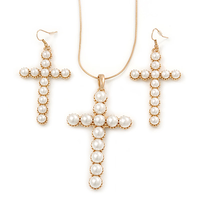 Large Faux Pearl Cross Pendant With 74cm L/ 6cm Ext Gold Tone Chain & Drop Earrings - - main view