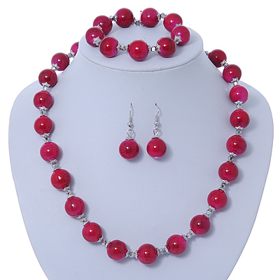 Fuchsia Ceramic Bead Necklace, Flex Bracelet & Drop Earrings In Silver Tone - 42cm L/ 5cm Ext