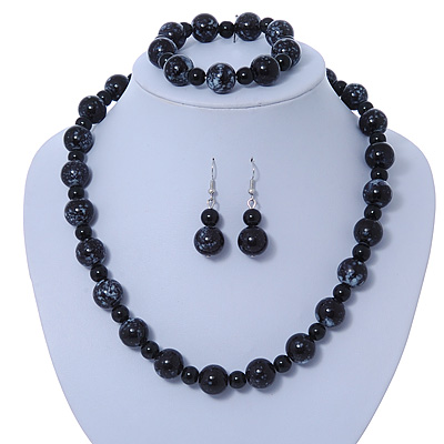 Black, Grey Marble Colour Ceramic Bead Necklace, Flex Bracelet & Drop Earrings Set In Silver Tone - 40cm Length/ 5cm Extension