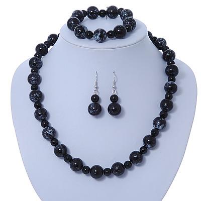 Black, Grey Marble Colour Ceramic Bead Necklace, Flex Bracelet & Drop Earrings Set In Silver Tone - 40cm Length/ 5cm Extension - main view