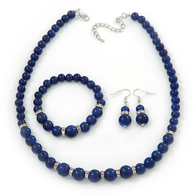 Blue Ceramic Bead Necklace, Flex Bracelet & Drop Earrings With Crystal Ring Set In Silver Tone - 44cm Length/ 6cm Extension