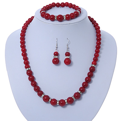 Dark Red Ceramic Bead Necklace, Flex Bracelet & Drop Earrings With Crystal Ring Set In Silver Tone - 44cm Length/ 6cm Extension