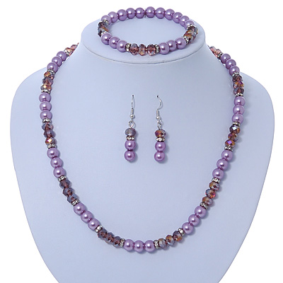 Pink/ Lilac Glass Bead With Crystal Rings Necklace, Flex Bracelet & Drop Earrings Set In Silver Tone - 44cm L/ 5cm Ext - main view