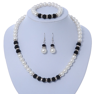 Classic 9mm Glass Pearl, Black Crystal Bead Necklace, Flex Bracelet & Drop Earrings Set - 42cm Length/ 4cm Extension