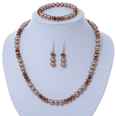 Light Brown/ Topaz Glass Bead With Crystal Rings Necklace, Flex Bracelet & Drop Earrings Set In Silver Tone - 44cm L/ 5cm Ext - main view