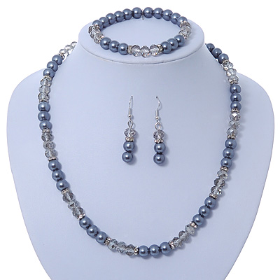 Anthracite/ Light Grey Glass Bead With Crystal Rings Necklace, Flex Bracelet & Drop Earrings Set In Silver Tone - 44cm L/ 5cm Ext