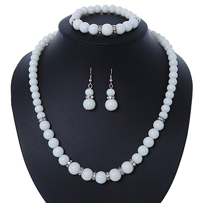 White Ceramic Bead Necklace, Flex Bracelet & Drop Earrings With Crystal Ring Set In Silver Tone - 44cm Length/ 6cm Extension