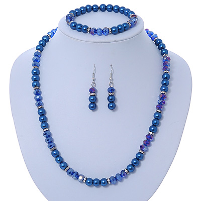 Navy Blue Glass Bead With Crystal Rings Necklace, Flex Bracelet & Drop Earrings Set In Silver Tone - 44cm L/ 5cm Ext - main view