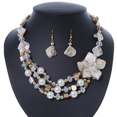 Antique White/ Transparent Shell, Glass Bead Floral Necklace & Drop Earrings In Gold Plating - 40cm L/ 7cm Ext