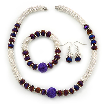 Light Silver Snowflake Metal Rings with Purple Glass Beads Necklace with Magnetic Closure (42cmL), Flex Bracelet (17cmL) and Drop Earring (35mm L) Set - main view