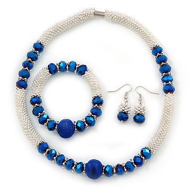 Light Silver Snowflake Metal Rings with Blue Glass Beads Necklace with Magnetic Closure (42cmL), Flex Bracelet (17cmL) and Drop Earring (35mm L) Set