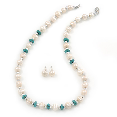 Off Round Cream Freshwater Pearl with Turquoise Bead Necklace and Stud Earrings Set In Silver Tone - 44cm L/ 8mm D - main view