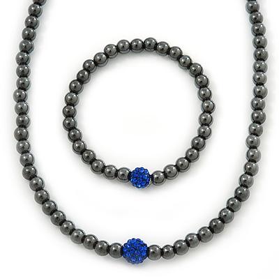 43cm L Hematite Bead with Blue Crystal Ball Magnetic Necklace And 18cm L Flex Bracelet Set