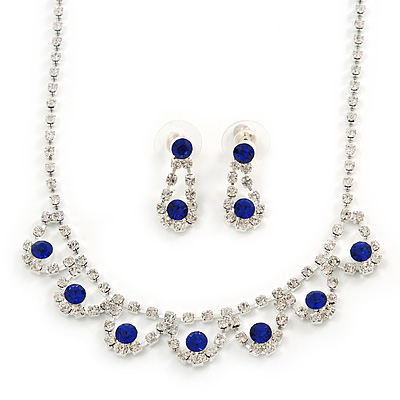 Bridal/ Wedding/ Prom Delicate Sapphire Blue/ Clear Austrian Crystal Necklace And Drop Earrings Set In Silver Tone - 36cm L/ 6cm Ext