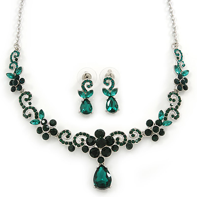 Bridal/ Prom/ Wedding Green Austrian Crystal Floral Necklace And Earrings Set In Silver Tone - 46cm L/ 5cm Ext