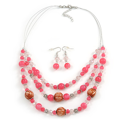 Pink/ Transparent Glass & Ligth Brown Ceramic Bead Multi Strand Wire Necklace & Drop Earrings Set In Silver Tone - 48cm L/ 4cm Ext - main view