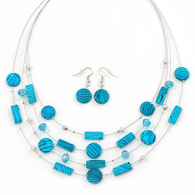Blue Stripy Shell And Crystal Bead Multi-Strand Necklace And Drop Earrings In Silver Tone - 50cm L/ 4cm Ext - main view