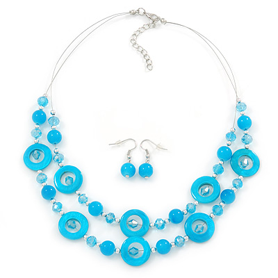 Light Blue Shell & Glass, Crystal Floating Bead Necklace & Drop Earring Set - 46cm L/ 4cm Ext