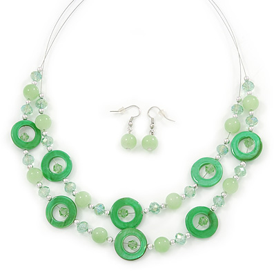 Lime Green Shell & Glass, Crystal Floating Bead Necklace & Drop Earring Set - 46cm L/ 4cm Ext - main view