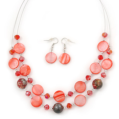 Red Shell & Crystal Floating Bead Necklace & Drop Earring Set - 46cm Length/ 4cm extension