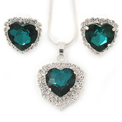 Emerald Green/ Clear Crystal Heart Pendant with Silver Tone Chain and Stud Earrings Set - 44cm L/ 6cm Ext - main view