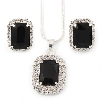 Black/ Clear Crystal Square Pendant with Silver Tone Chain and Stud Earrings Set - 44cm L/ 5cm Ext - main view