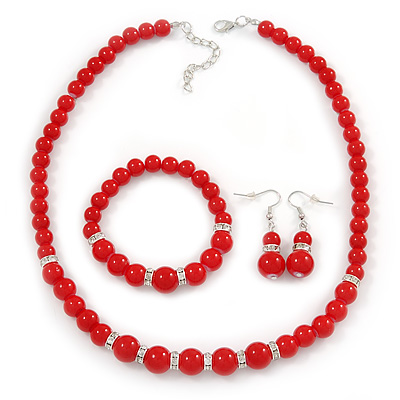Bright Red Ceramic Bead Necklace, Flex Bracelet & Drop Earrings With Crystal Ring Set In Silver Tone - 44cm L/ 6cm Ext