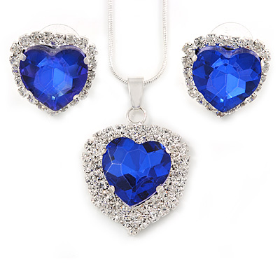 Blue/ Clear Crystal Heart Pendant with Silver Tone Chain and Stud Earrings Set - 44cm L/ 6cm Ext - main view
