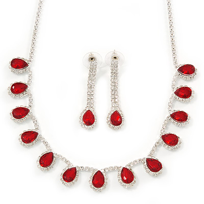 Bridal/ Wedding/ Prom Siam Red/ Clear Austrian Crystal Necklace And Drop Earrings Set In Silver Tone - 36cm L/ 11cm Ext