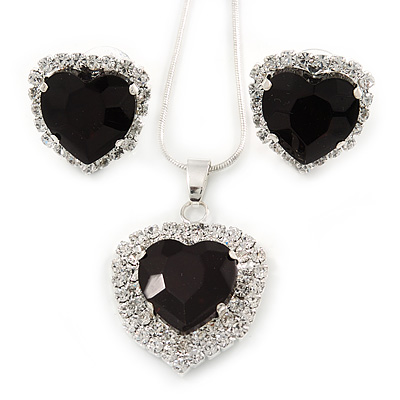 Black/ Clear Crystal Heart Pendant with Silver Tone Chain and Stud Earrings Set - 44cm L/ 6cm Ext - main view