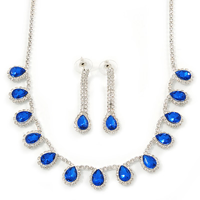 Bridal/ Wedding/ Prom Sapphire Blue/ Clear Austrian Crystal Necklace And Drop Earrings Set In Silver Tone - 36cm L/ 11cm Ext - main view