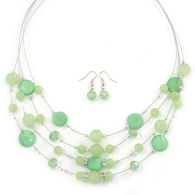 Light Green Shell & Crystal Floating Bead Necklace & Drop Earring Set - 52cm L/ 5cm Ext - main view
