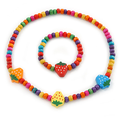 Children's Multicoloured Strawberry Wooden Flex Necklace & Flex Bracelet Set - main view