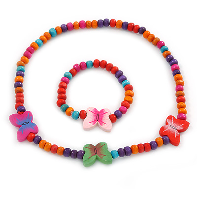 Children's Multicoloured Butterfly Wooden Flex Necklace & Flex Bracelet Set