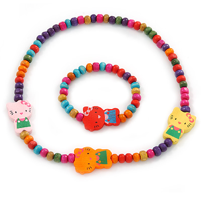 Children's Multicoloured Kitty Wooden Flex Necklace & Flex Bracelet Set