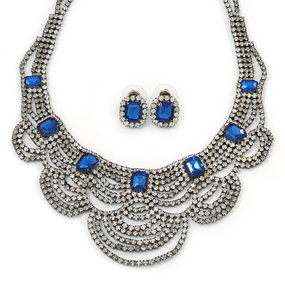 Bridal, Wedding, Prom Clear/ Blue Austrian Crystal Layered Necklace and Stud Earrings Set In Black Tone - 36cm L/ 6cm Ext