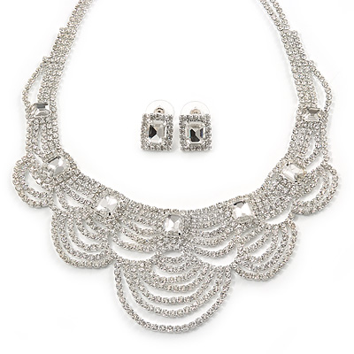 Bridal, Wedding, Prom Clear Austrian Crystal Layered Necklace and Stud Earrings Set In Silver Tone - 36cm L/ 6cm Ext