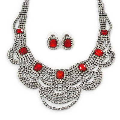 Bridal, Wedding, Prom Clear/ Ruby Red Austrian Crystal Layered Necklace and Stud Earrings Set In Black Tone - 36cm L/ 6cm Ext
