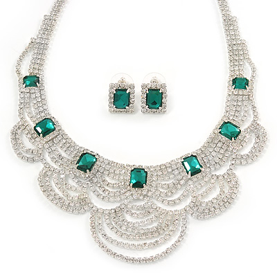 Bridal, Wedding, Prom Clear/ Emerald Green Austrian Crystal Layered Necklace and Stud Earrings Set In Silver Tone - 36cm L/ 6cm Ext - main view