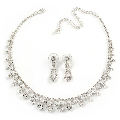 Bridal Clear Crystal Choker Necklace & Drop Earring Set In Silver Tone Metal - 33cm L/ 11cm Ext