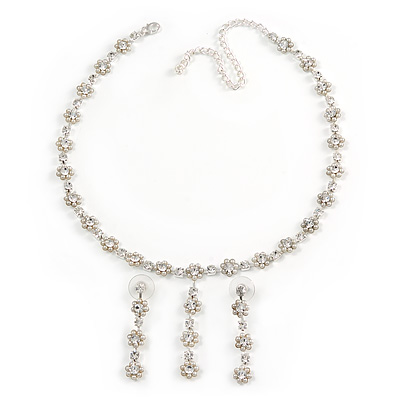Delicate Bridal Simulated Pearl/ Crystal Floral Y-Necklace & Drop Earring Set In Silver Metal - 39cm L/ 12cm Ext