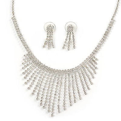 Statement Bridal Clear Crystal Fringe Necklace & Earrings Set In Silver Tone Metal - 38cm L/ 10cm Ext