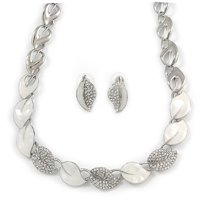 White Enamel and Clear Crystal Leaf Motif Necklace and Stud Earrings Set In Silver Tone - 41cm L - Gift Boxed