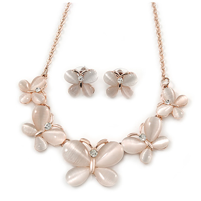 Romantic Nude Glass Butterfly Necklace and Stud Earrings Set In Rose Gold Tone - 46cm L/ 4cm Ext - Gift Boxed