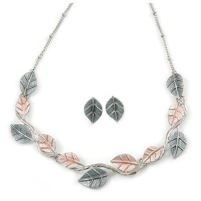 Delicate Pastel Pink/ Grey Matt Enamel Leaf Necklace & Stud Earrings In Silver Tone Metal - 40cm L/ 8cm Ext - Gift Boxed