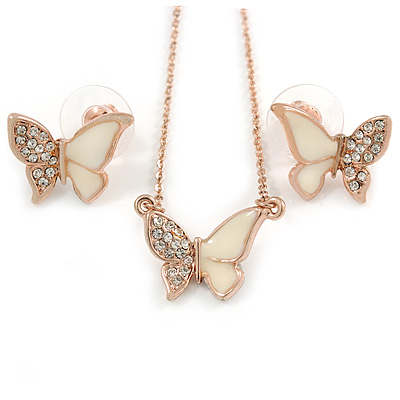 Clear Austrian Crystal Cream Enamel Butterfly Pendant with Rose Gold Tone Chain and Stud Earrings Set - 41cm L/ 4cm Ext - Gift Boxed - main view