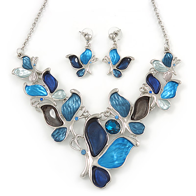 Romantic Glass, Crystal Blue Butterfly V Shape Necklace & Drop Earrings In Silver Tone Metal - 40cm L/ 8cm Ext - Gift Boxed - main view